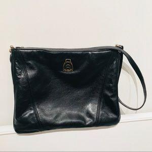 VINTAGE Aigner Blk Leather Messenger Crossbody Bag